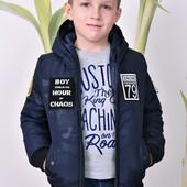 Демисезонная куртка Бомбер для мальчика, черный и синий, р.122-164