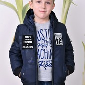 Демисезонная куртка Бомбер для мальчика, олива и синий, р.110-164
