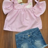 Летний джинсовый костюм с блузой с для девочек
