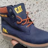 Зимние ботинки Cat Caterpillar кожа, рыжий,черный коричневый