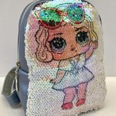 Заказ сегодня! Супер качество! С подкладкой!Рюкзак для девочки с паетками Кукла Лол