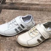 Кроссовки-туфли Walker, полностью кожа, р. 31-36, унисекс, белые/бежевые
