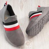Жіночі кросівки-сліпони стильні сірі (Х-69-3)