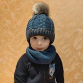 Теплые комплекты на флисе шапка с помпоном на завязках +хомут, Польша, проверили на себе!