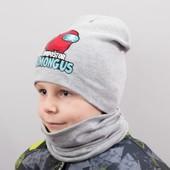 горячая цена!Осенние комплекты для деток! Амонг ас, Бетмен! шапочка+бафф хомут, отличное качество!