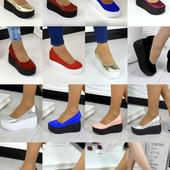 Кожаная женские туфли на каблуке, танкетке! быстрая отправка! Цены порадуют!