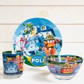 Новинки!Детский набор посуды 3 и 5 предметов с мультяшными героями большой выбор