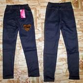 Модные леггинсы под джинс на флисе для девочки 134/140-158/164 p. Маломерят