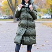 Зимнее женское пальто (курточка) в цвете хаки. Только 2 ростовки.