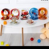 Комплект детской посуды из 4-х предметов ( 3 тарелочки и чашечка ) супер цена